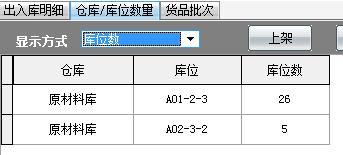 3、出入库后,可以按库位数显示方式查看每个库位的库存数,也可以显示每个批次的总入库数和当前数量。而批次总数、库位总数、物料库存数量都是相等的。